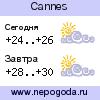 Прогноз погоды в городе Cannes